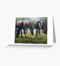 New Forest Horses painting Greeting Card