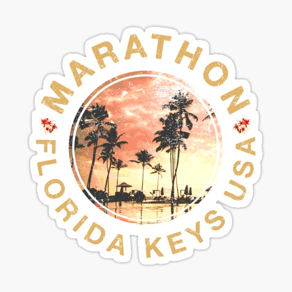 Florida Keys Marathon Retro Sunset Vintage Sticker