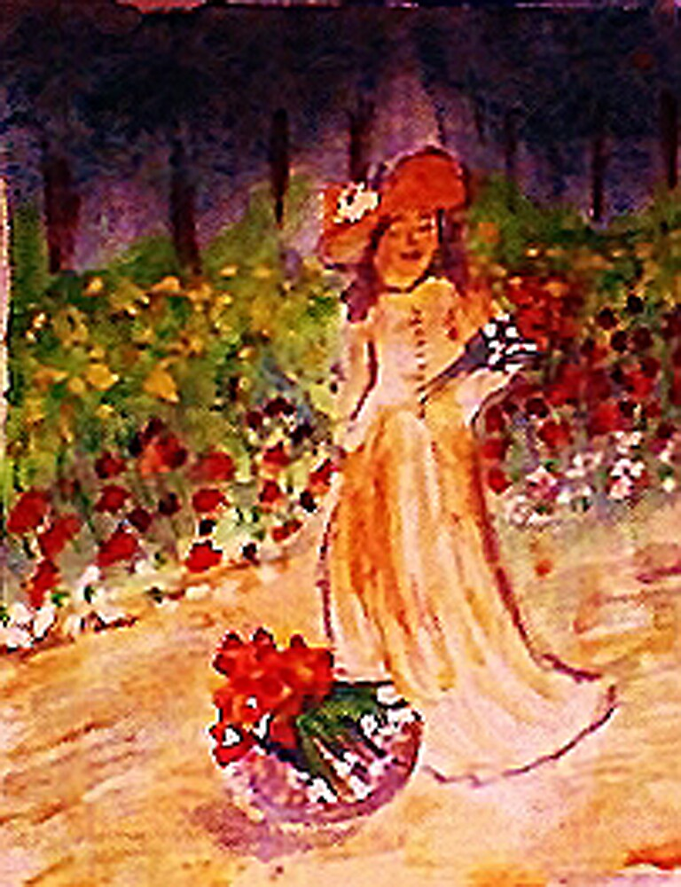 Gathering flowers along path, watercolor by Anna  Lewis, blind artist