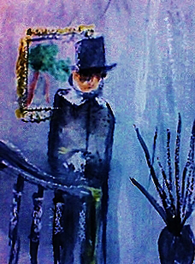 Victorian Man on stairs, watercolor by Anna  Lewis, blind artist
