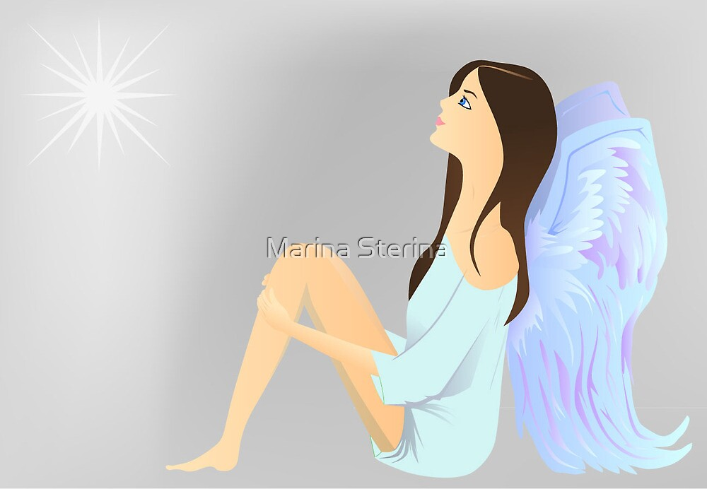 Angel watches the star by Marina Sterina