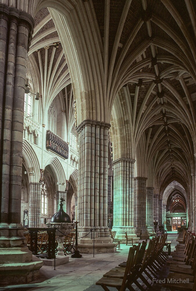 Baptistry font and south aisle Exeter Cathedral 19810114 0005  by Fred Mitchell