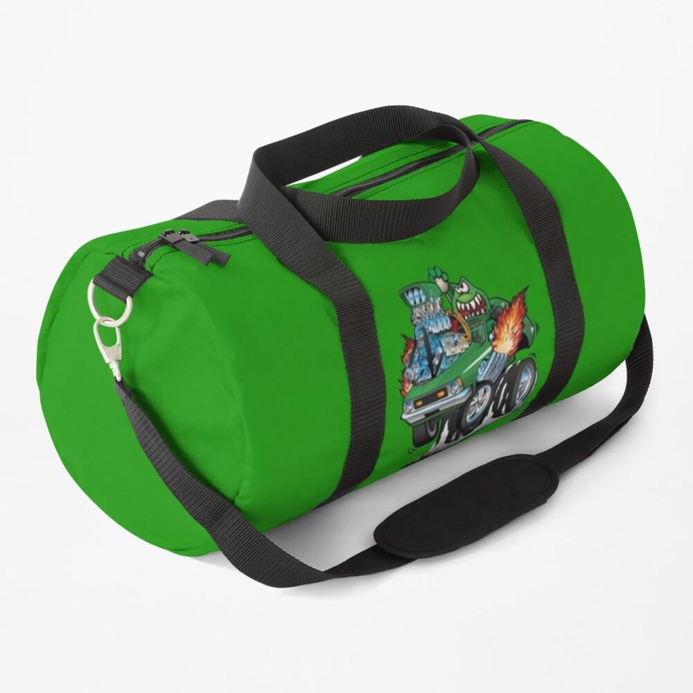 Seventies Green Hot Rod Funny Car Cartoon Duffle Bag