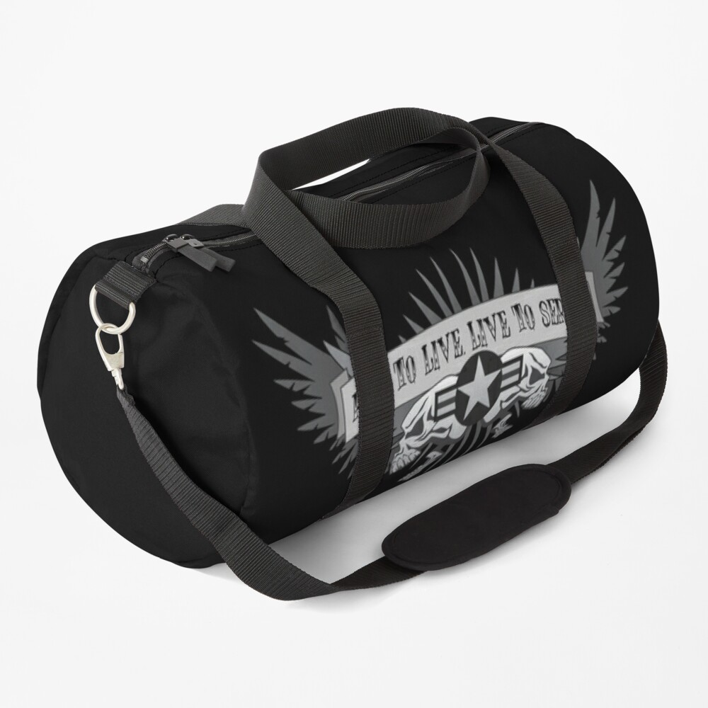 Ride to Live. Live to Serve. Military Biker Aviation Star Roundel Skull Wings Duffle Bag