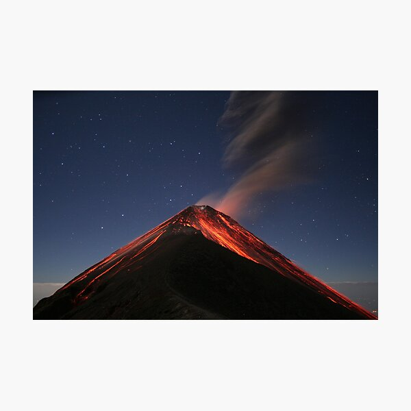 Eruption of Fuego by Moonlight Photographic Print