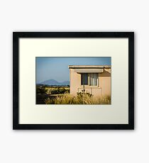 Fibro-cement home with a view Framed Print
