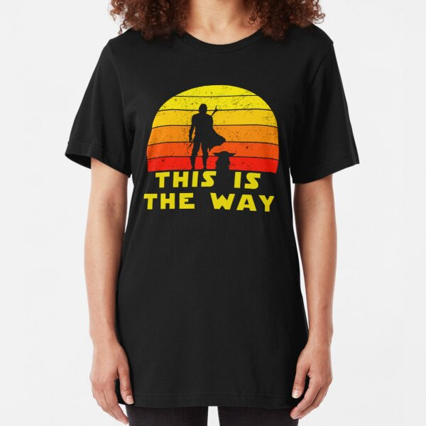 mando retro this is the way and the baby vintage  Slim Fit T-Shirt