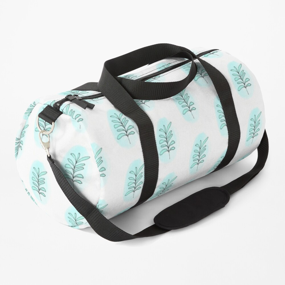 Aqua Blue Pastel Leaf Drawing Watercolor Background Duffle Bag By Nancymerkle Redbubble