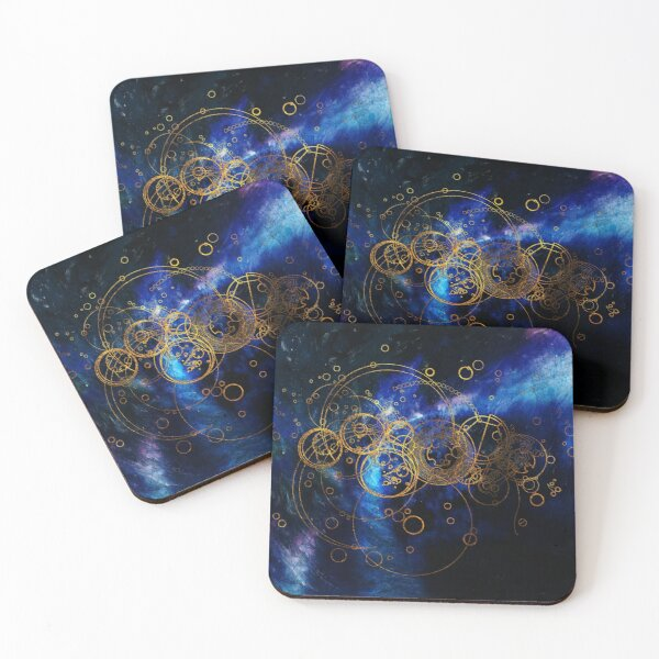 Time Lord Writing (blue) Coasters (Set of 4)