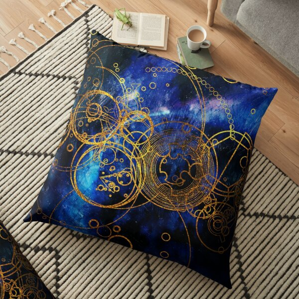 Time Lord Writing (blue) Floor Pillow