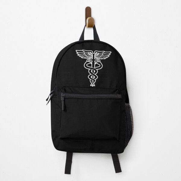 Caduceus medical symbol with snakes sword and wings Backpack