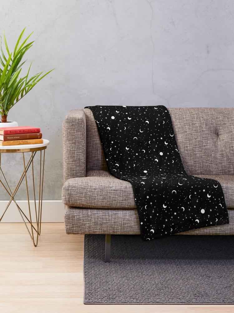 Alternate view of Black Universe Throw Blanket
