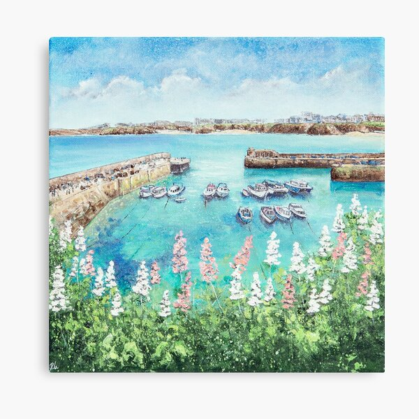 Newquay Harbour Flowers, Cornwall Art Canvas Print