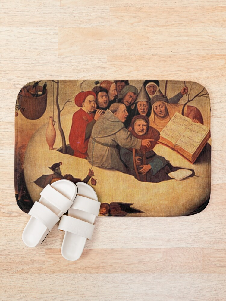 Alternate view of Concert in the Egg Painting by Hieronymus Bosch Bath Mat