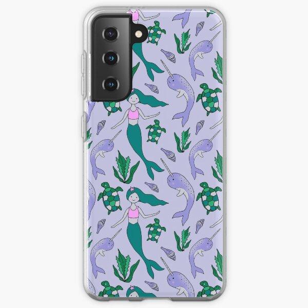 Mermaid & Narwhal Ocean Pattern on Light Blue Samsung Galaxy Soft Case