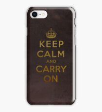 Keep Calm and Carry One Grunge Dark Brown Background iPhone Case/Skin