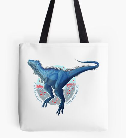Autosexual Aucasaurus (with text) Tote Bag