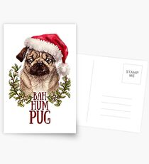 Bah Hum Pug Postcards
