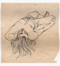 Reclining male nude Poster
