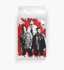 Castiel, Dean, and Sam on Red Supernatural Duvet Cover