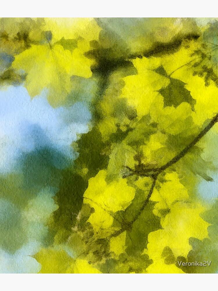 Green Maple Leaves. Watercolour Imitation. by Veronika2V