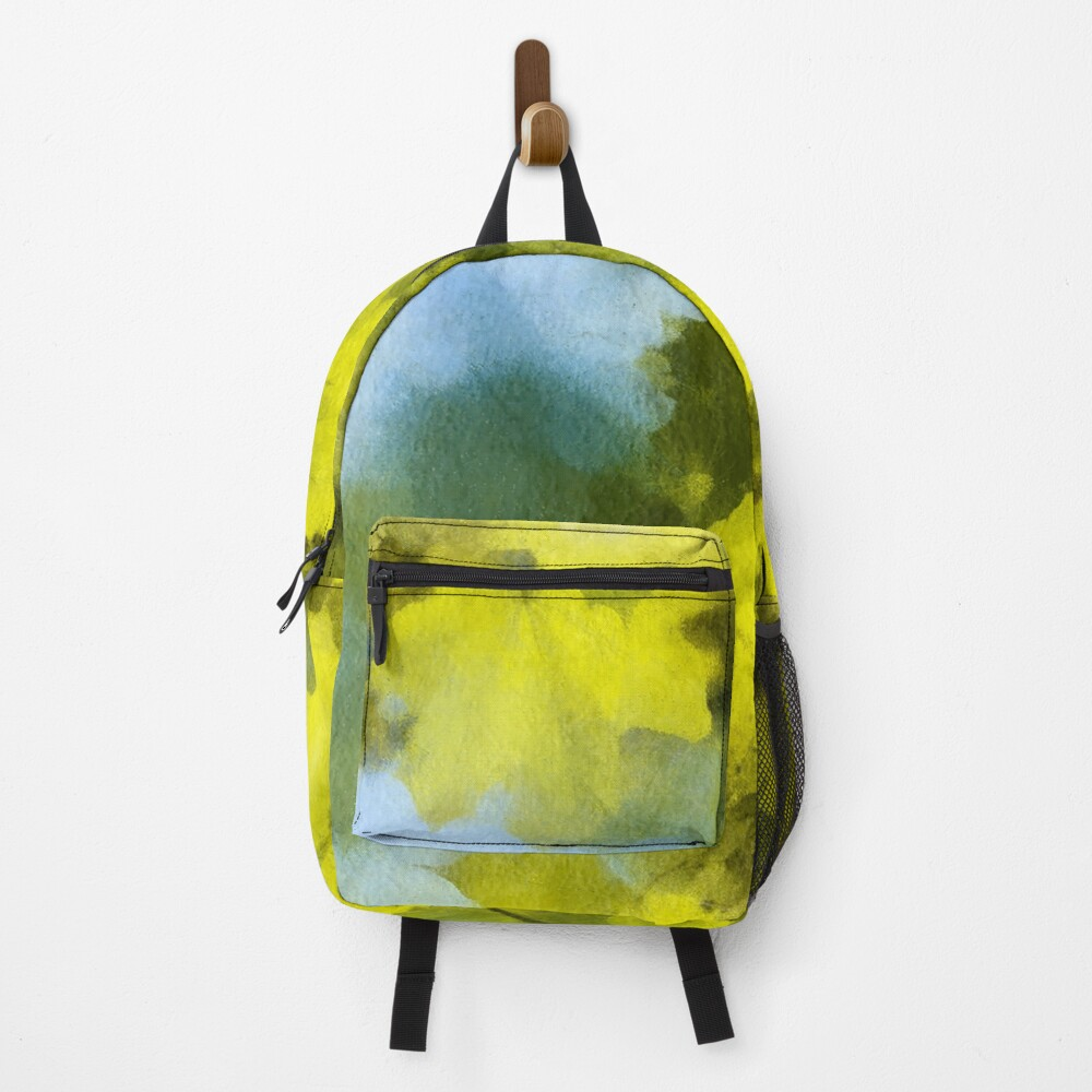 Green Maple Leaves. Watercolour Imitation. Backpack