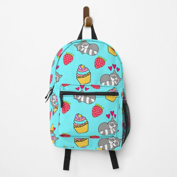 Cute happy sleeping dreaming Kawaii baby raccoon, sweet red summer strawberries and colorful rainbow yummy cupcakes bright light pastel blue design. Nursery decor. Backpack