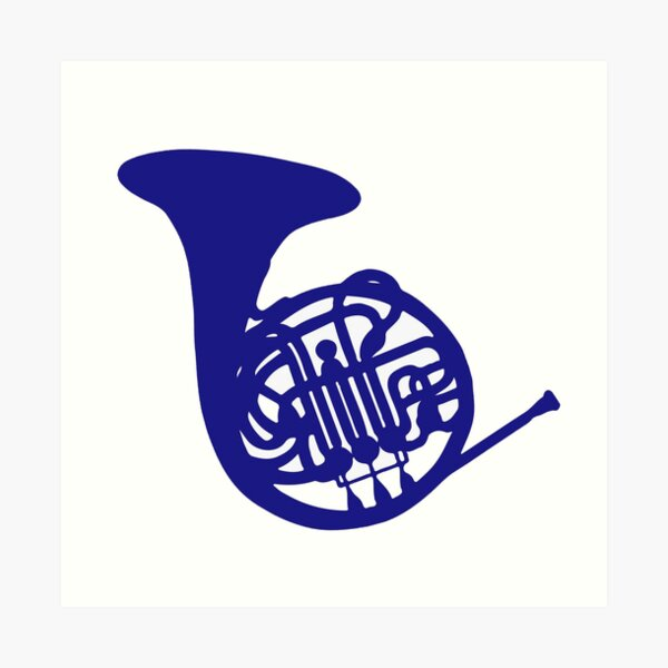 Blue french horn Lámina artística