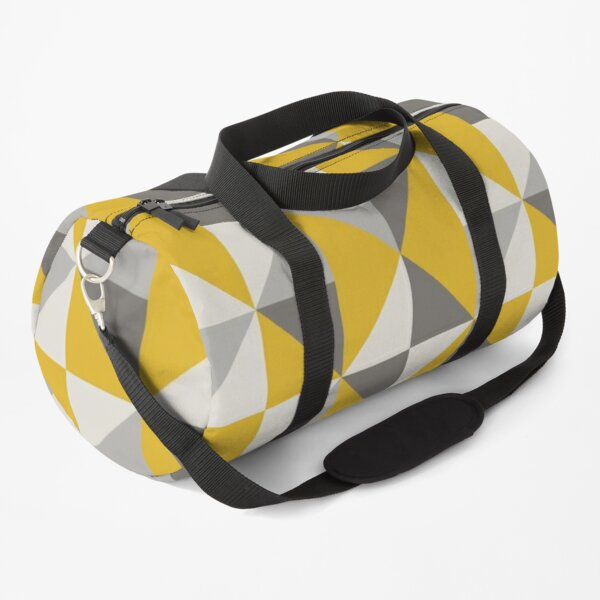 Retro Triangle Design in Yellow and Grey Duffle Bag