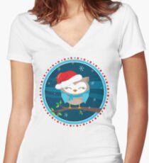 FESTIVE CHRISTMAS T-SHIRT :: boy owl night time Women's Fitted V-Neck T-Shirt