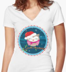 FESTIVE CHRISTMAS T-SHIRT :: girl owl night time Women's Fitted V-Neck T-Shirt
