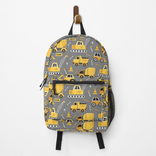 Construction Trucks on Gray Backpack