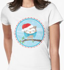 FESTIVE CHRISTMAS T-SHIRT :: boy owl day time Womens Fitted T-Shirt