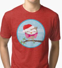 FESTIVE CHRISTMAS T-SHIRT :: girl owl day time Tri-blend T-Shirt