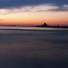Saint Kilda beach and Jetty, by night by Beau Williams