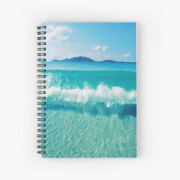 Blue ocean summer beach waves  Spiral Notebook