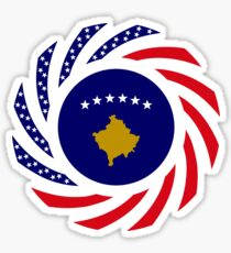 Kosovar American Multinational Patriot Flag Series Sticker