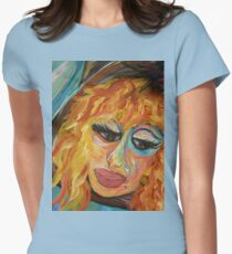 Fashionista in Coral and Blue Womens Fitted T-Shirt