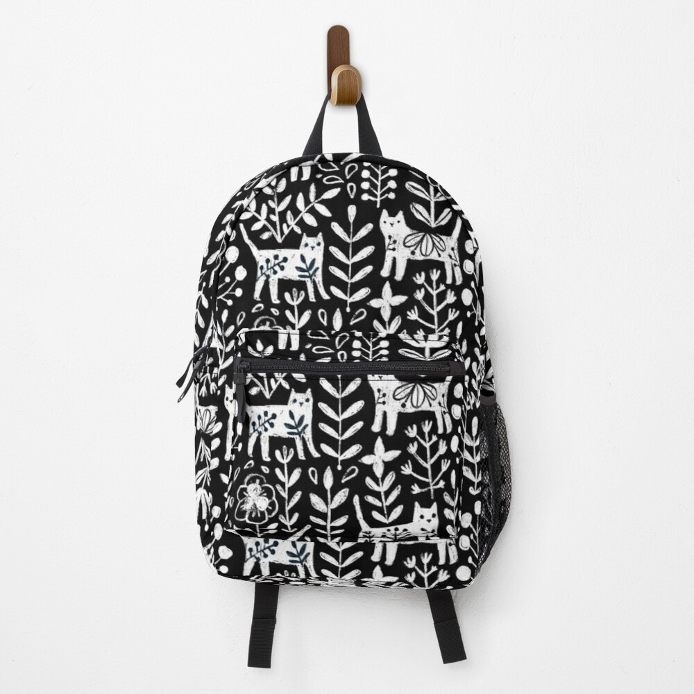Black and white cute cats and summer flowers Backpack