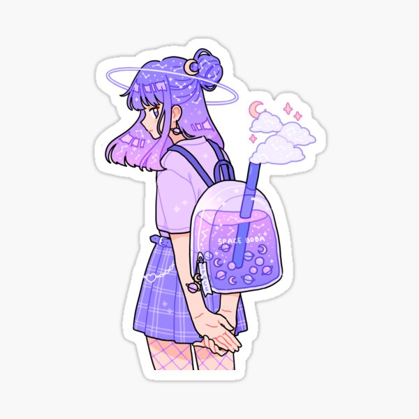 space boba backpack Sticker