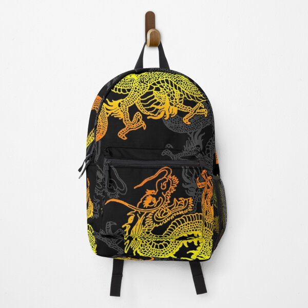Golden Chinese Dragon Pattern Backpack