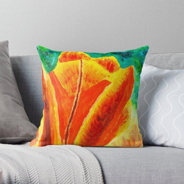 Bright Yellow Orange Tulip Acrylic Floral Painting Throw Pillow