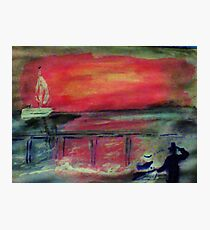 The pier seen at sunset by a couple, watercolor Photographic Print