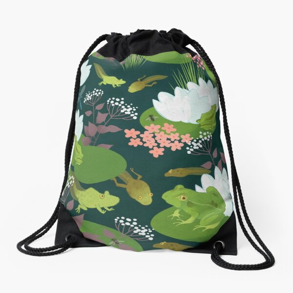 Frogs and Polliwogs Drawstring Bag