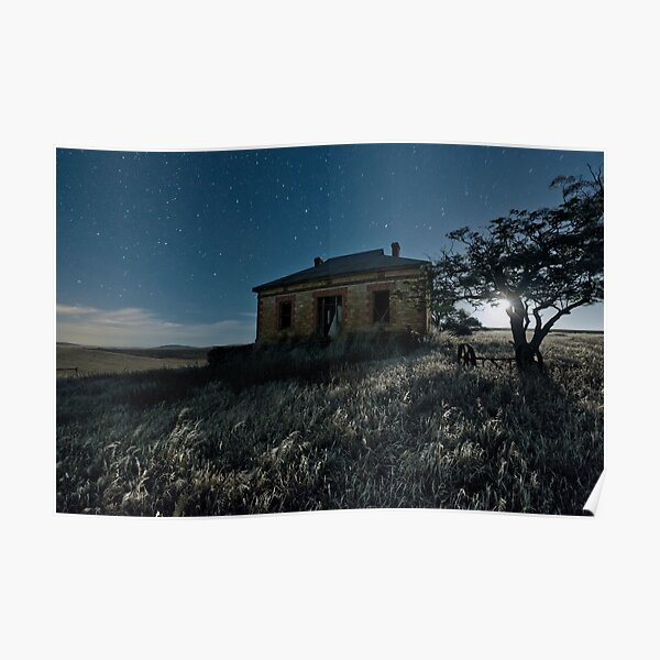 Abandoned Burra Homestead, and Moonset Poster