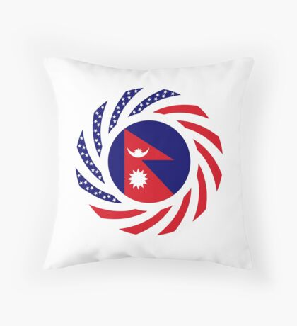 Nepalese American Multinational Patriot Flag Series Throw Pillow