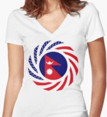 Nepalese American Multinational Patriot Flag Series Women's Fitted V-Neck T-Shirt
