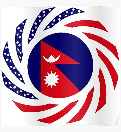 Nepalese American Multinational Patriot Flag Series Poster