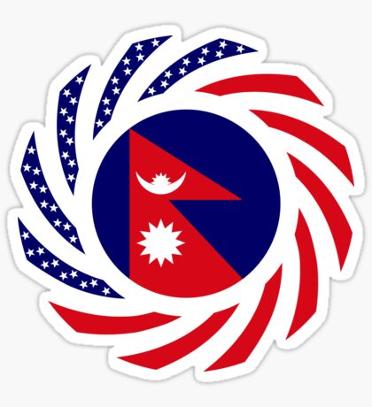 Nepalese American Multinational Patriot Flag Series Glossy Sticker