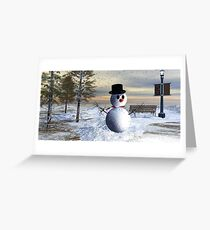 Making snowman in the park Greeting Card